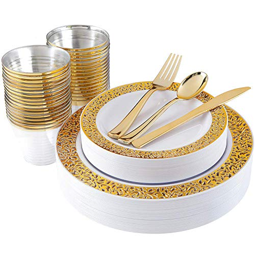 180pcs Plastic Gold Lace Plates, Gold Plastic Silverware, Gold Plastic Cups, Disposable Party Flatware, Durable Wedding Plates and Cutlery Set, Supernal
