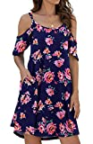 Jouica Women's Sexy Crew Neck Cold Shoulder Strap Ruffle Floral Midi Dress,Flower Navy Blue Pink, XX-Large