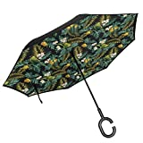 Car Reverse Umbrella,Hawaiian Pattern With Breadfruit Palm Leaf Plumeria Flower And Exotic Bird On Dark,With C-Shaped Handle