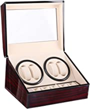B&H-ERX Automatic Double Watch Winder with Quiet Mabuchi Motor for Men, 4+6 Watches Storage Box Case for Rolex,Wood Shell Piano Paint Exterior,Soft and Flexible Watch Pillows,Brown
