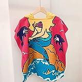 FISISZ Toalla de baño para niños Toallas de Playa Suaves para bebés Unicorn Shark Niños pequeños con Capucha Surf Swim Pool Coverup Poncho Cape Albornoz-Rose Red Mermaid, L (75x75cm)