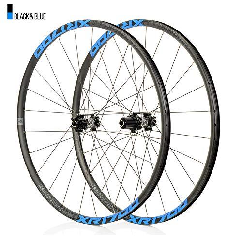 Juego ruedas Conjunto bicicleta montaña Azul MTB doble pared Aleación aluminio Cubo rueda libre Freno disco llanta Liberación rápida Rodamientos Ciclismo delantera rueda trasera,8-11 velocidad,27.5'