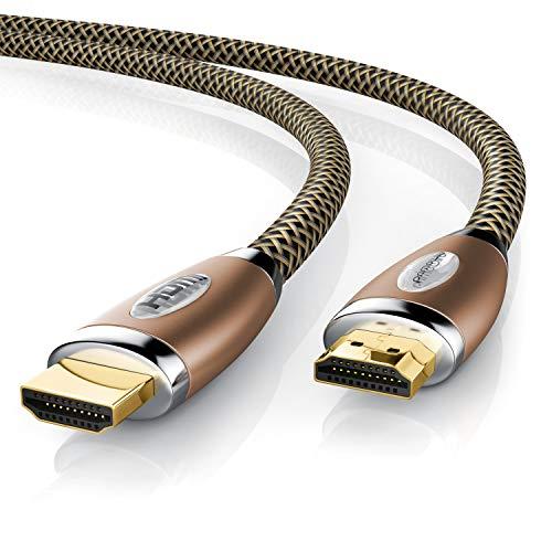 CSL - 2m Premium HDMI Kabel 2.0b UHD 4k - High Speed with Ethernet - HDMI 2.0b 2.0a 2.0 1.4a - 4K Ultra HD 2160p Full HD 1080p - Kabel 3 Fach geschirmt - 3D ARC CEC - Kupfer Design
