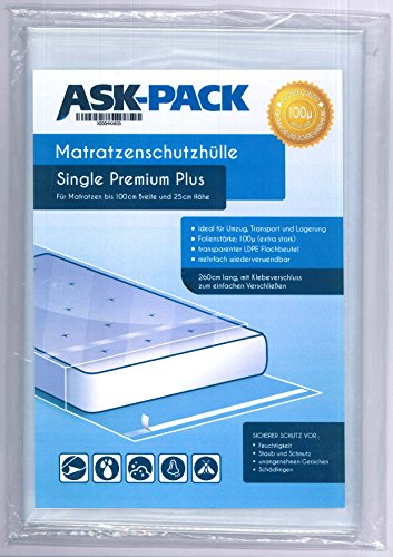 ASK Pack Premium Mattress Bag Single for 3ft4 (100cm) wide - 9.8in (25cm) height mattress - with reusable adhesive seal - EXTRA HEAVY DUTY