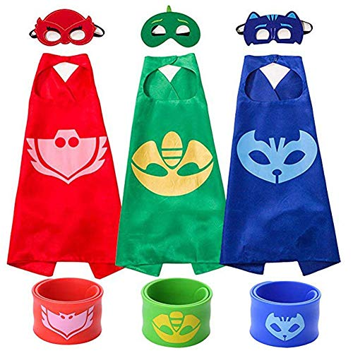 Cartoon Hero Mask Costumes and Dress Up for Kids - Cartoon Heroes Catboy Owlette Gekko Capes Bracelet and Mask 3 Sets