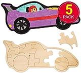 Baker Ross- Puzles de madera con forma de coches de carreras (Pack de 5) - Puzle de coche para decorar -manualidades infantiles para colorear y montar