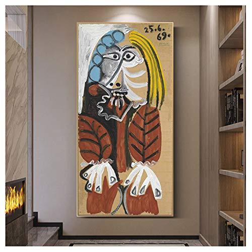 YKing1 Pablo Picaso Berühmte Kunst Gemälde Drucken Auf Leinwand Kunst Poster Und Drucke Abstrakte Klassische Frau Wandkunst Bilder Wohnkultur 50x100cm ungerahmt