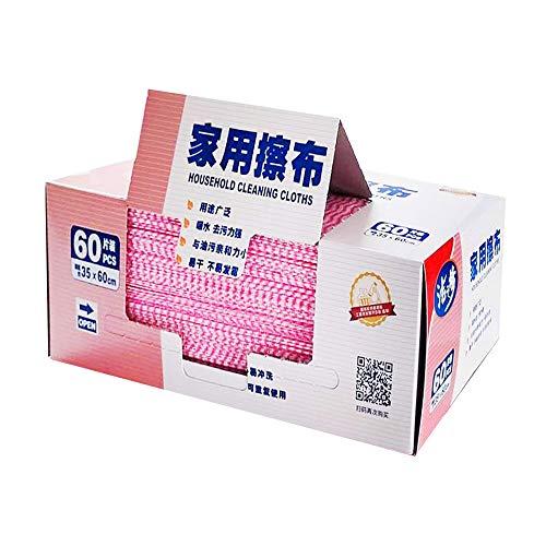 潔の夢 ダスター カウンタークロス ふきん 35x60cm 繰り返し使用可能 油汚れに強い 吸水 速乾 家庭用 業務用(ピンク, 60枚)