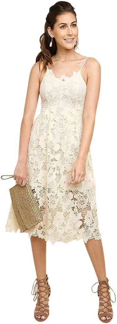 Umgee Women's Floral Lace Applique Midi Dress