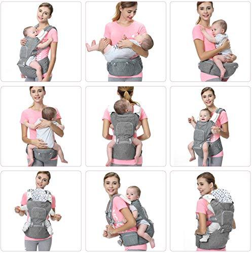 Bamny Marsupio Neonati Ergonomico Baby Carrier Portantina per Bebè 6 in 1-Multifunzione Regolabile Porta Bebè con Cappuccio Rimovibile Traspirante Multiposizione:Dorsale Ventrale (0-36 mesi 3,5-15 kg)