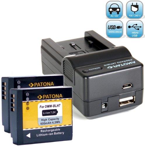 2X PATONA Ersatz für Akku für DMW BLH7 E - Ladegerät 4in1 - Panasonic Lumix DC GX800 GX880 DMC GM1 GM5 GF7 LX15 - NEUHEIT mit Micro USB-Eingang