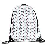 Bolsa con cordón para gimnasio, boina y camisa con globos para perros en el fondo de rayas, mochila con cordón, mochila para gimnasio, mochila de hombro para hombres y mujeres