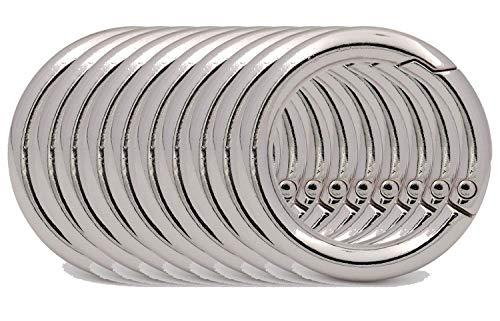 BIKICOCO Runder O-Ringverschluss mit Federverschluss, 2,5 cm, für Handtaschen, Schlüssel, silberfarben, 10 Stück