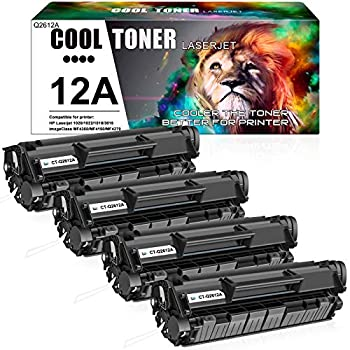 Cool Toner Compatible Toner Cartridge Replacement for HP 12A Q2612A HP Laserjet 1020 Toner Cartridge 1022 1018 1010 1012 3050 3015 3055 3030 MF4350d MF4150 MF4370dn D420 MF4270 Ink  Black 4Pack