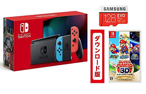 Nintendo Switch 本体 (ニンテンドースイッチ) Joy-Con(L) ネオンブルー/(R) ネオンレッド + スーパーマリオ 3Dコレクション|オンラインコード版 + Samsung microSD 128GB