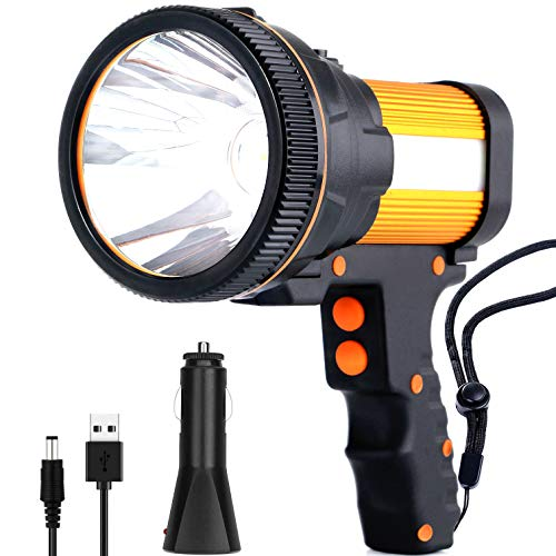 Rechargeable spotlight,Super Bright 7800 Lumens LED Searchlight Handheld,and Flood Camping Flashlight with Foldable Tripod with USB Output Function IPX4 Waterproof (Golden)
