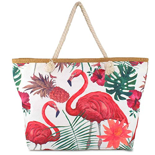 Hats Beach Bag Colorful Summer mit Kordel-Henkel Schulter-Strand-Pool-Schwimmbad-Shopping-Tasche Sommer-Urlaub-Flair Flamingo (Flamingo großes Muster)