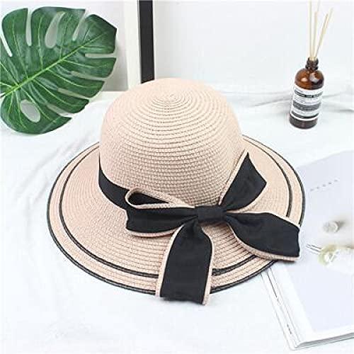 NJJX Sombrero para El Sol con Lazo Negro Grande, Sombreros De Verano para Mujer, Sombrero Plegable De Paja para La Playa, Panamá, Visera De ala Ancha para Mujer, Niña 48-52 Cm Rosa