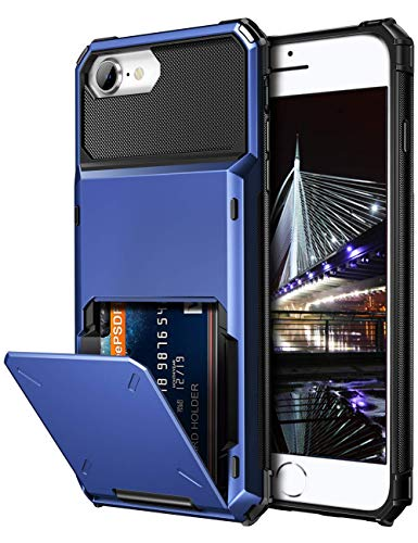 Vofolen Case for iPhone 6s Case iPhone 8 Wallet Credit Card Holder ID Slot Pocket Scratch Resistant Dual Layer Protective Bumper Rugged TPU Rubber Armor Hard Shell Cover for iPhone 6 6s 7 8 Navy Blue