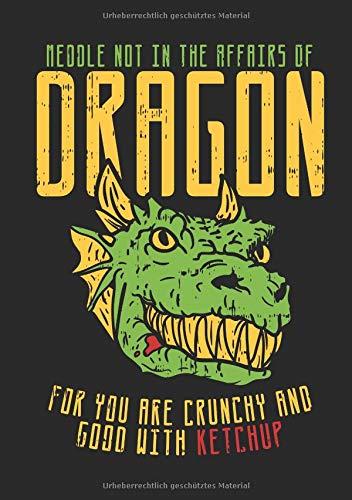 Notizbuch Meddle Not In The Affairs of Dragons: Humorvolles Kinder Notizbuch im A5 Format mit Drachen Ketchup Spruch, auch als Notizheft, Journal, Tagebuch und für Skizzen geeignet Geschenk