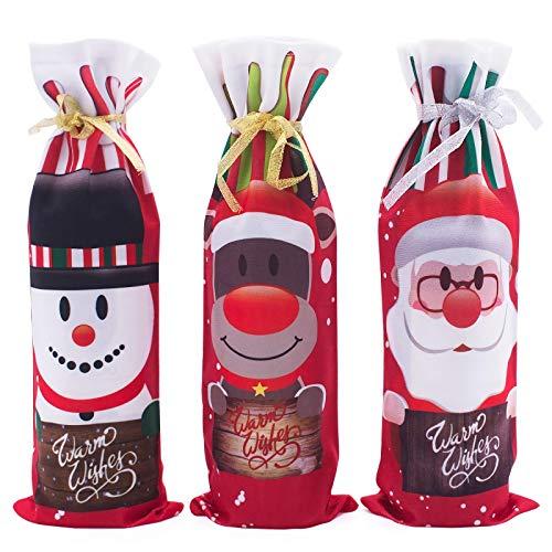 Bolsa de botella de vino de Navidad decoración de la botella de vino cubierta de cordón botella decoración bolsas cubiertas para decoración de mesa