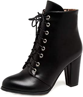 Women's Pointed Toe Lace Up Western Ankle Boots Block High Heels Chelsea Booties Martin Short Boot