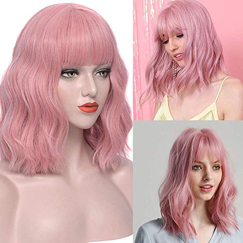 Klaiyi Hair Synthetic Wigs Bob Curly Pink Wig with Bangs Natural Looking Heat Resistant Fiber Hair Wigs for Women (12 inch, pink)
