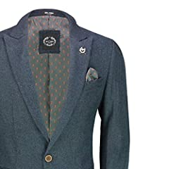 Xposed Mens Double Single Breasted Blazer Smart Retro Tailored Fit Coat Classic Suit Jacket[BLZ-SIN-Marco,Tweed Blue,50] #1