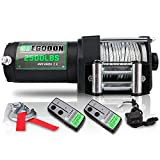 STEGODON 2500 lb. Load Capacity Electric Winch,12V Steel Cable Winch with Wired Handle and Wireless Handheld Remotes,Waterproof IP67 Electric Winch with 4-Way Roller Fairlead(Matte Black)