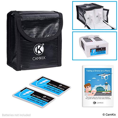 CamKix Travel Safety Pack Compatible with DJI Phantom 4 - for 2 Batteries - Includes: LiPo Safety Bag, 2X Battery Port Cover and Travel Instructions - Ideal Protection Kit for Travel by Airplane