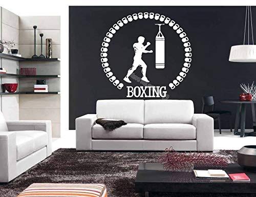 Sportler Boxhandschuhe Boxsack Kampf Wandaufkleber Fitness Kickboxing Sport Aufkleber Gym wohnheim Wohnzimmer Decor wandbild 56X53CM