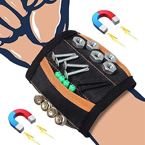 Unknows Muñequera magnética Bolsa Herramientas Cinturón de muñeca con 15 imanes Fuertes para Sujetar Tornillos Brocas de uñas Tornillos Brocas de uñas Pulsera
