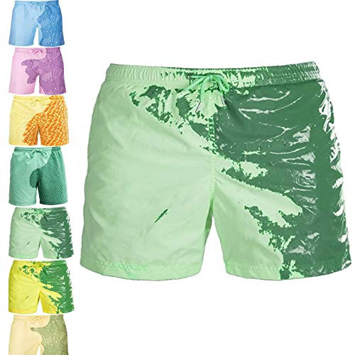 FTIK BañAdor Que Cambia de Color Hombre,Shorts de Playa para Hombres Que Cambian de Color Traje de baño Deportivo de Verano Respirable Secado rápido Bañador de Surf Pantalones S A4