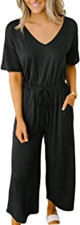 ANRABESS Women Jumpsuits V Neck Wide Leg Elastic Waist Long Pant Jumpsuits Rompers with Pockets
