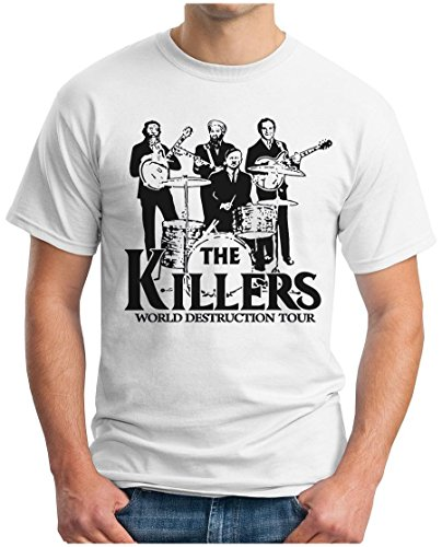 OM3® - The Killers World Destruction Tour - T-Shirt Punk Rock Hardrock Music Parody Geek, L, Weiß
