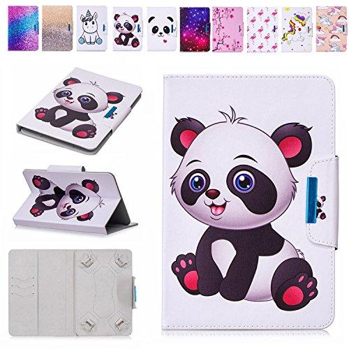 E-Mandala 8 Zoll Hülle Leder Flip Case Tablet PC Tasche mit Kartenfach Ledertasche Lederhülle - Panda