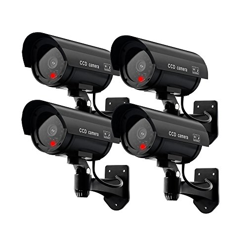 ERWEY Dummy Kamera Fake Überwachung Kamera CCTV mit Blinkendem LED Licht Sicherheitskamera - 4 Stück