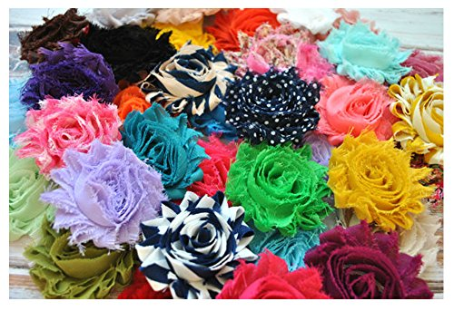 YYCRAFT (30 Pieces) Shabby Flowers - Chiffon Fabric Roses - 2.5