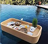 MEARCOO Rattan gewebtes schwimmendes Tablett, 100cm quadratisches ovales Schwimmbad Schwimmer...