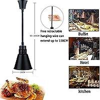 OESFL 食品ウォーマーランプ食品保温ランプシングルヘッド保温ランプ食品暖房ランプ調整可能な長さ調整可能な長さ60-150Cm伸縮ピザ暖房ランプ (Color : Black)