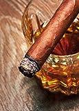 1art1 Alkoholische Getränke - Whiskey Und Zigarre, 2-Teilig Selbstklebende Fototapete Poster-Tapete 250 x 180 cm