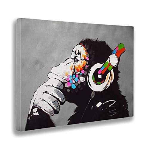Giallobus - Schilderij - Afdrukken op Canvas - Banksy - Dj Aap - 100 X 140 Cm