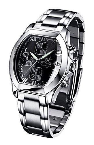FIREFOX NEBUKADNEZAR FFS175-102a Sunray schwarz Damenuhr Armbanduhr Chronograph massiv Edelstahl Sicherheitsfaltschließe wasserdicht Laufwerk Miyota OS10