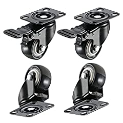 Includes 4 casters (2 casters with brakes& 2 without). Rotate 360 degrees. Smooth & Silent & Sturdy. The total locking brake locks both the wheel and the swivel simultaneously Capacity 55LB per wheel, Total 220LB. Bearing: Double ball bearings (6001z...
