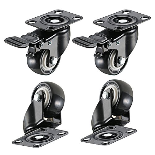 bayite 4 Pack 2' Heavy Duty Caster Wheels Polyurethane PU Swivel Casters with 360 Degree Top Plate 220lb Total Capacity for Set of 4 (2 with Brakes& 2 Without) Black