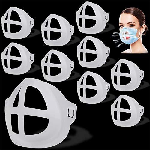 TOOVREN Silikon Halterung Lippenstift Schutz Halterung 3D Face Bracket, Atmen Stützrahmen Innenkissen für Nasenpolster für Mund und Nase, Verhindern Linse beschlägt (Erwachsene 10 Stk)