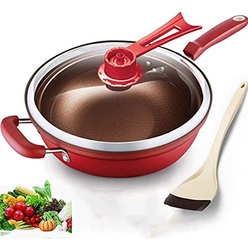 YIJIN Iron Frying Pan Heat-Preserve Vacuum Pot Boiling Cease-fire Health Preservation Pan Cooking Wok Pan with Uprigh,Red