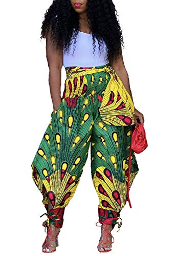 Voghtic Women Casual African Print Harem Pants Hippie Loose Lounge Pant with Pockets Green