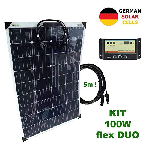 VIASOLAR Kit 100W Flex Duo 12V Panel Solar Semi-Flexible células alemanas