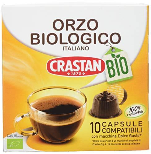 Crastan Capsule Compatibili Dolce Gusto Orzo da Agricoltura Biologica - Confezione da 10 Capsule